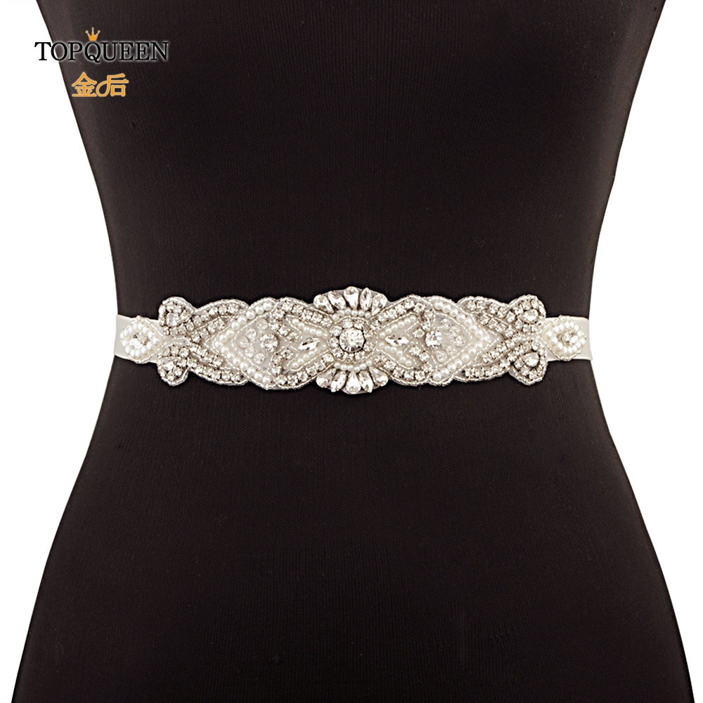 TOPQUEEN S208 Crystal Rhinestone Belt Bridal Sash Fashion Belts Wedding Belt Pearl Bridal Belt Jewel Belt Bridal Accessories