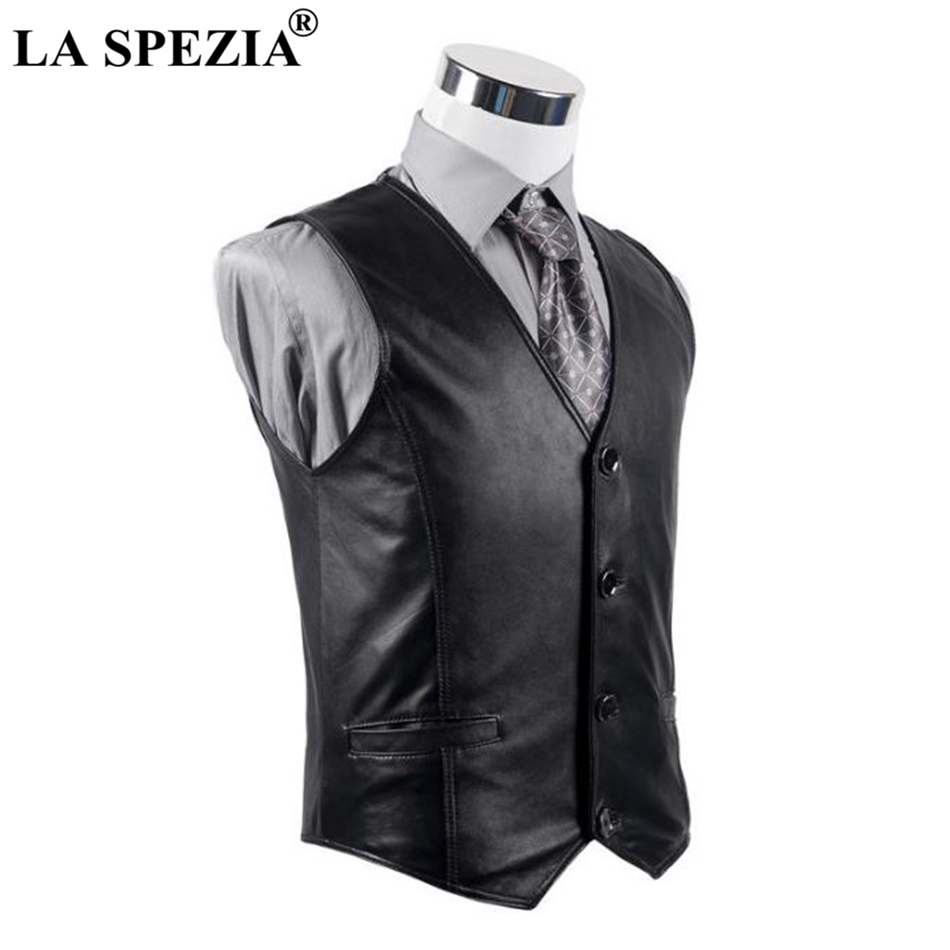 LA SPEZIA Leather Waistcoat Men Casual Black Vest Male Genuine Leather Button Vintage Autumn Designer Classic Sleeveless Jacket