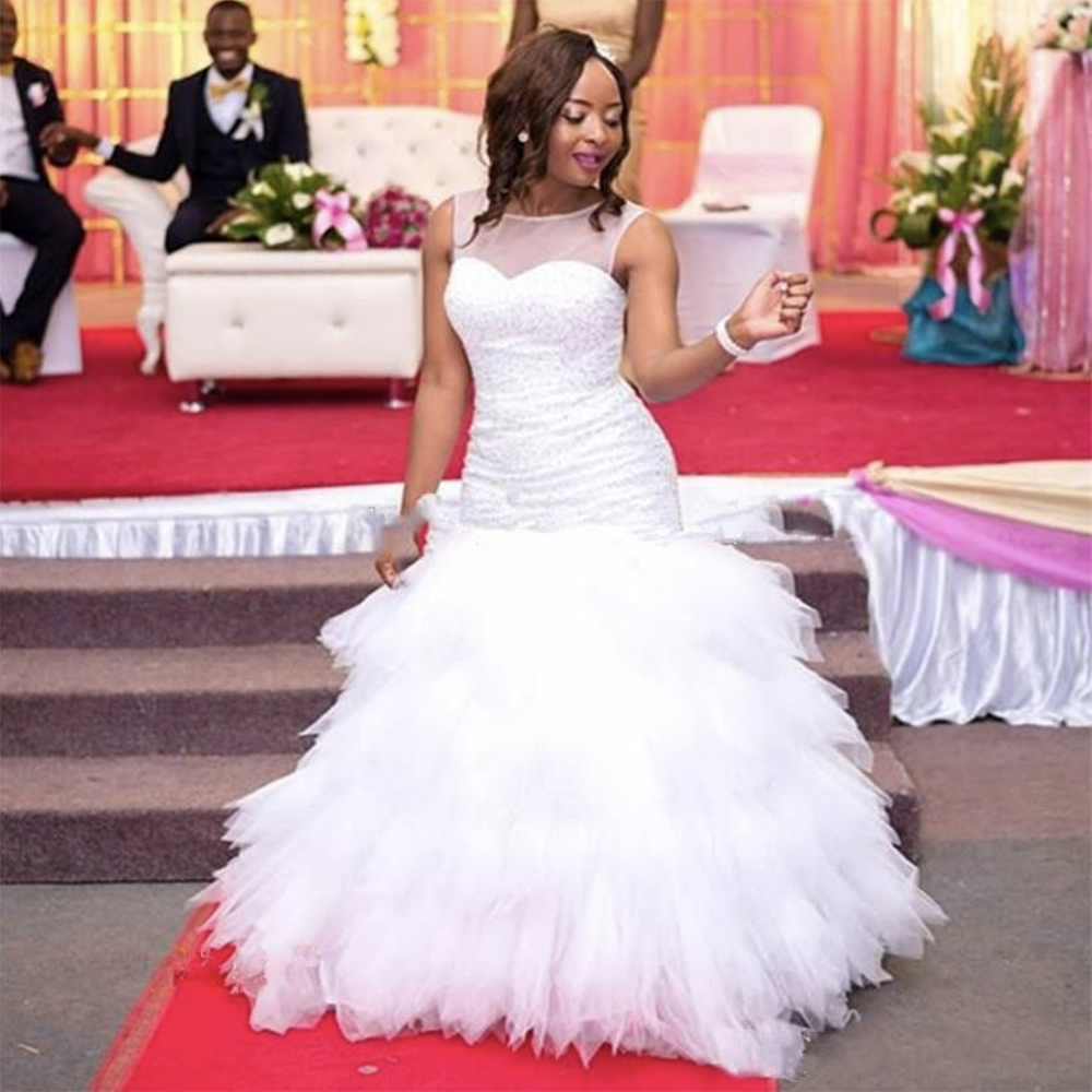 Fansmile 2019 New African Tiered Mermaid Wedding Dress Full Beading Bridal Gown Wedding Gowns Plus Size