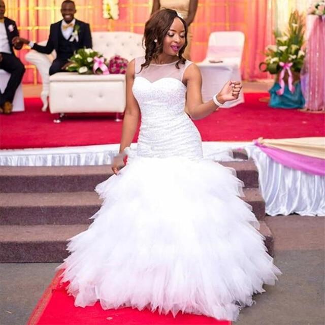 Fansmile 2020 新アフリカティアードマーメイドウェディングドレスフルビーズ花嫁衣装のウェディングドレスプラスサイズカスタマイズ FSM 595M