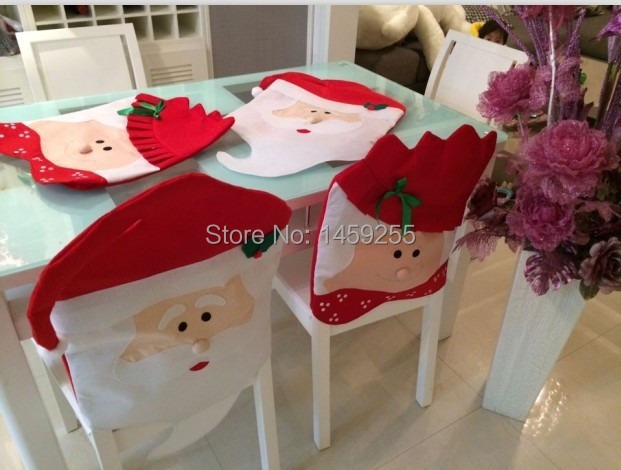 4pcs Mr Mrs Santa Claus Christmas Kitchen Chair Coversdinner Chairs Covers Banquet