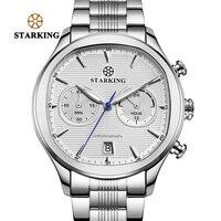 STARKING Business Dress Fashion Men Watches Stainless Steel Square Quartz Japan Movt Multi function Chronograph Wristwatches Men