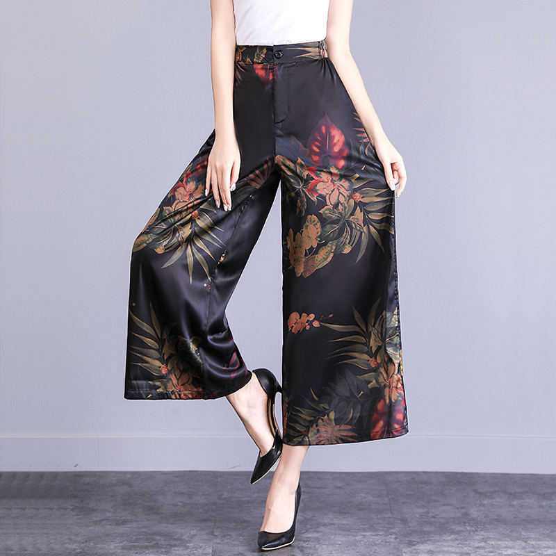 2019 New Women's Summer Silk Floral Printed Cropped   Pants   Plus Size Loose   Wide     Leg     Pants   For Mother Elastic Band Waist Trousers