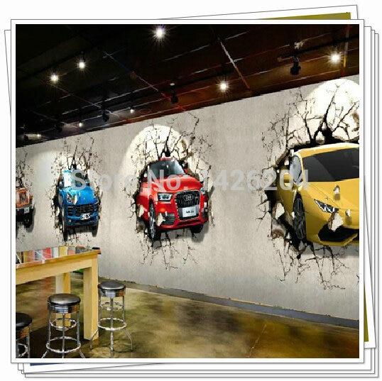 Great Wall Custom 3d Car Broken Wall Mural Wallpaper Office
