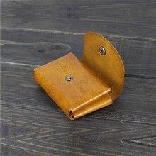 Retro Handmade Trip Folded Card Holder Wallet Japanese Designer Vegetable Tanned Leather Business ID Credit Card Bag Hasp Case