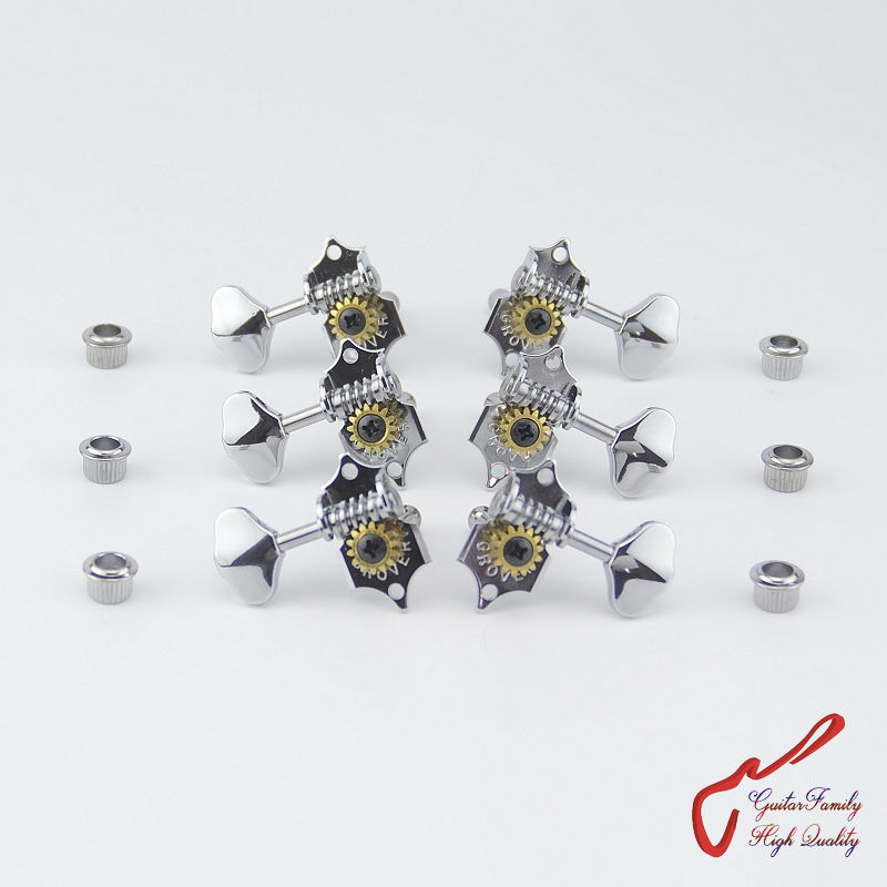 1Set 3R-3L Genuine Vintage Grover Guitar Machine Heads Tuners Chrome ( without original package ) цена