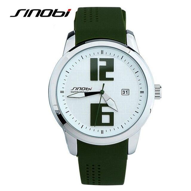 b9275b22464 2017 sinobi relógios homens verdes silicone strap analógico quartz relógios  moda marca sinobi homens relógio do