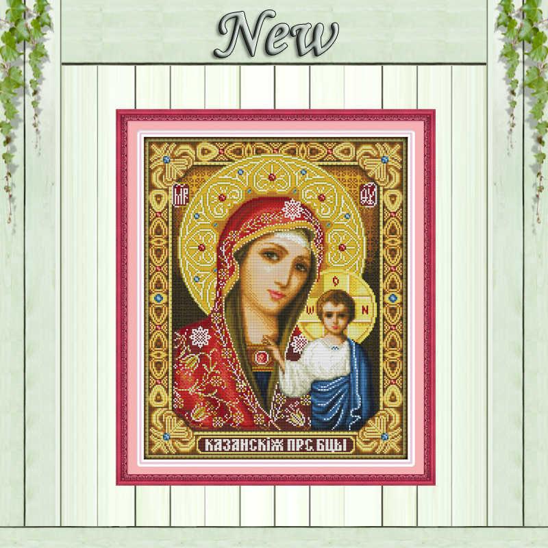 14CT onbedrukt, 11CT Print op canvas Kruissteek schilderijen jesus Handwerken, Heilige moeder & heilige zoon, volledige te borduren Home Decor