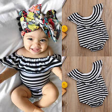Summer Striped Infant Baby Girls Clothes Classic Bodysuit Jumpsuit Outfits Sunsuit 0-24M(China)