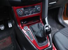 Красный цвет углеродного волокна автомобилей внутренняя панель передач модификации отделочный стикер для Ford Focus Mk3 Mk4 2012-2016 2017 2018