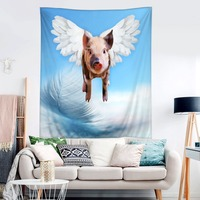 HommomH Tapestry Art Decor Wall Hanging in Dorm Living Room Bedroom Flying Pig Baby Warrior Wings Feather Blue
