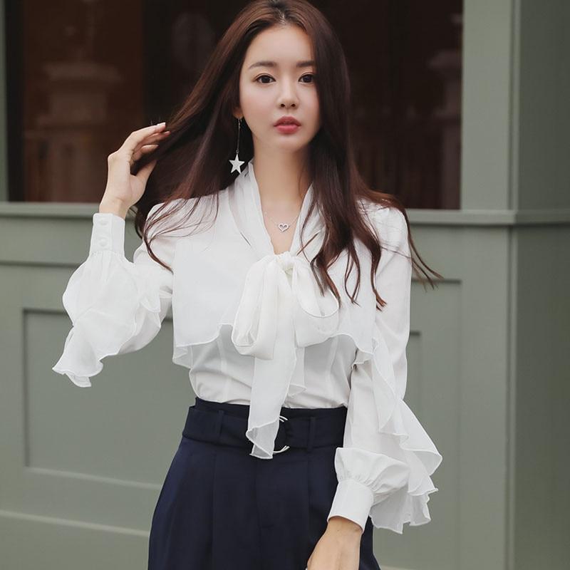 Autumn Korean Women OL White Shirts Bowtie Stitching Slim Long-sleeved Chiffon Blouse Fashion Female Work Tops Ruffled Blusas