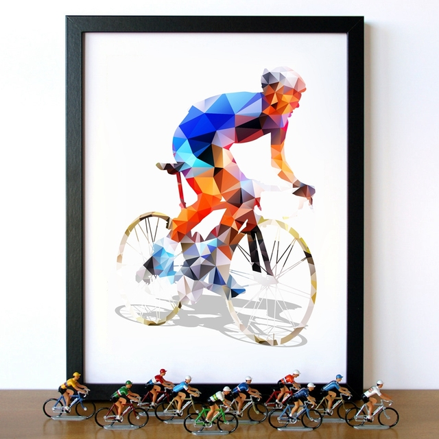 Abstract Geometrical Polygonal Cyclist Canvas Art Painting Wall ...