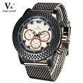 High Quality V6 Brand Full Stainless Steel Mens Quartz Watch Simple Analog Casual Bussiness Watches For Men Clock Wristwatch