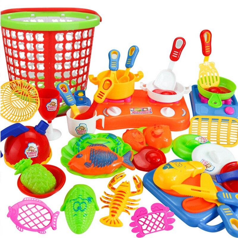 35 pz developmental giocattoli educativi per i bambini bambini in plastica utensili da cucina cottura dei
