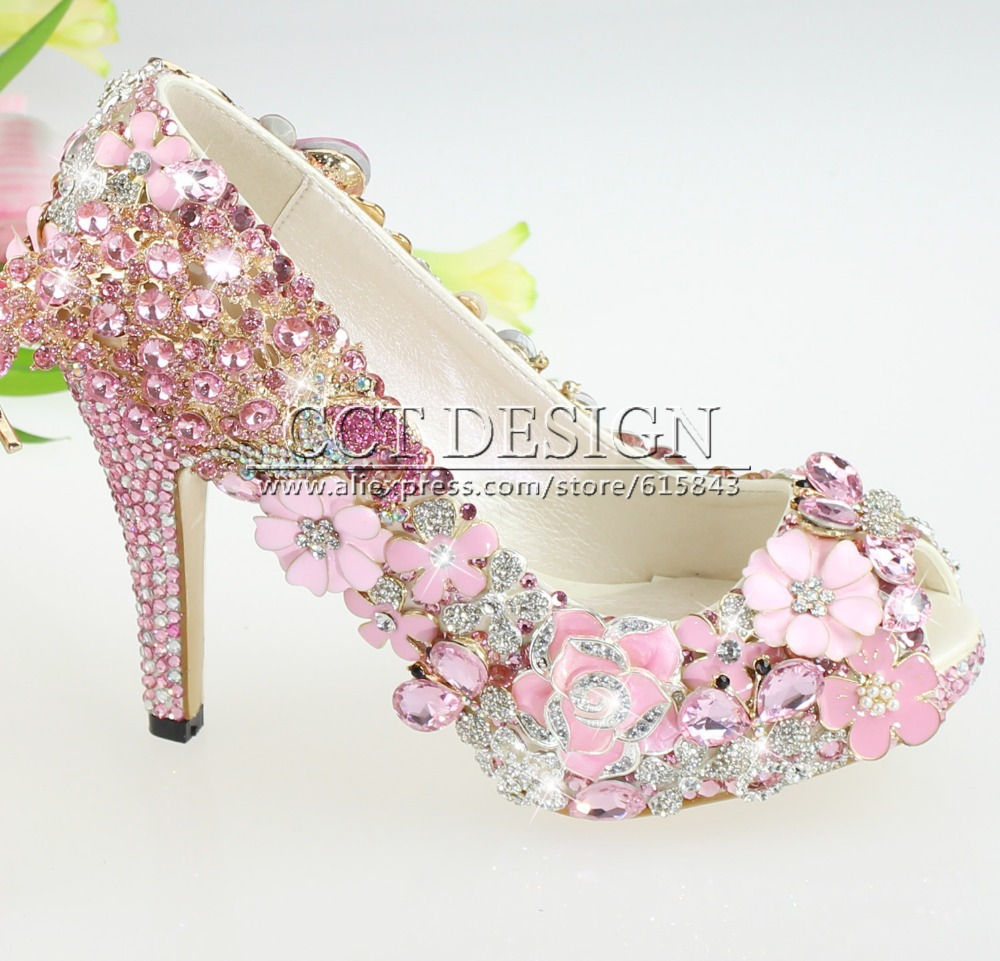 2017 New Design Handmade Y Women Luxury Crystal Pea And Hot Pink Rhinestone Wedding Shoes Ptoe Low High Heels 4inch In S Pumps From On