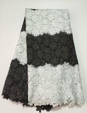Afrikanische Spitze Stoff 2016 Heißen Hohe Qualität Schwarz Weiß 5 Yards Guipure-spitze Stoff Mit Steinen Für Afrikanische Schnur Spitze stoff