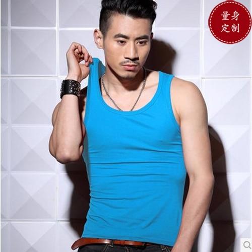 BOYTHOR 섹시한 남성 속옷 diy 고급 패션 피트니스 기본 남성 꽉 조끼 100 %면 바다 블루 탄성 슬림 속옷