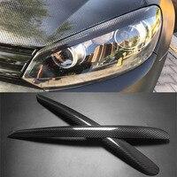 Carbon Fiber Headlight Cover Eyebrows Eyelid Trim Sticker For VW Golf 6 2008 2012