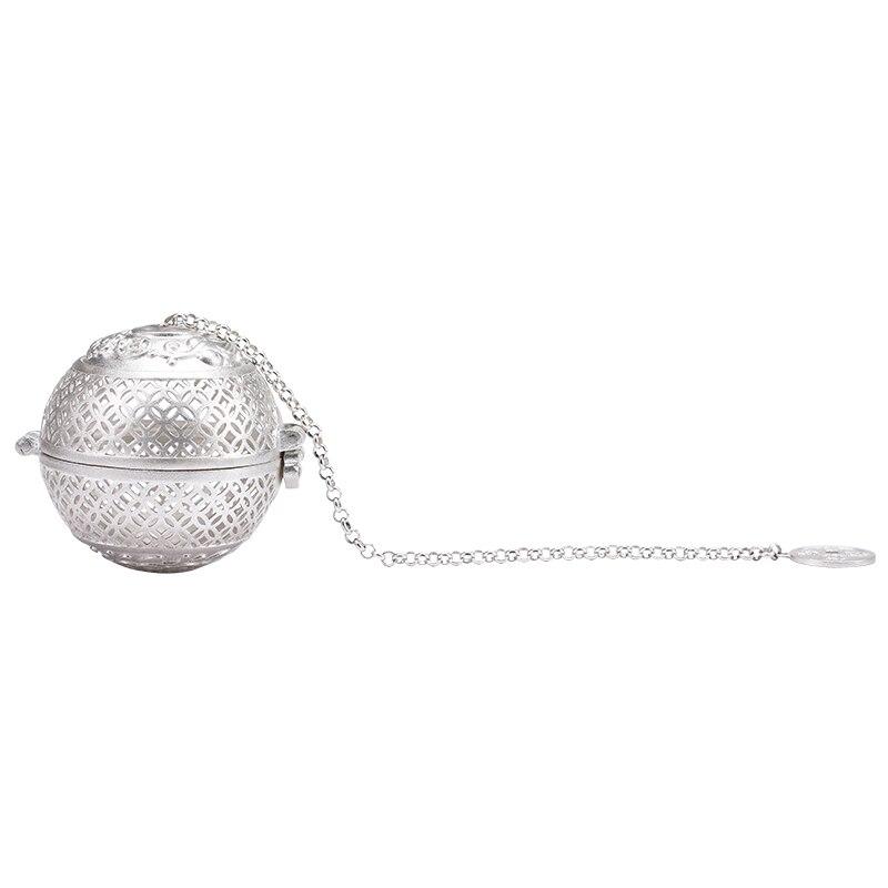 Nouveau S999 argent balle thé Dip Net filtre avec crochet en vrac thé épices boule avec chaîne de corde accueil cuisine outils