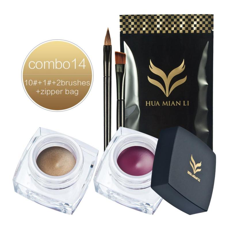 Huamianli 2Pcs/set Eyeliner Gel Combination Waterproof Green Blue Brown Color Eye Liner Makeup Pigments Gream B3