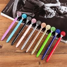 Цветная дрель, Шариковая кристальная ручка, драгоценный камень, шариковое кольцо для пера, свадебное офисное металлическое кольцо, шариковая ручка