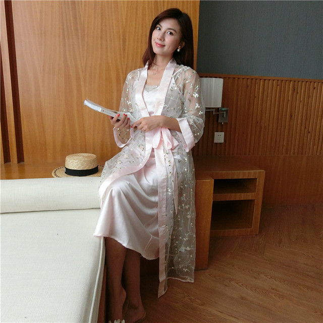 e7da566564 2018 New Women Sleepwear Summer Thin Sleeping Robes + Sling Nightdress Two- Piece Embroidery Light Pink Bathrobe Kimono LMR12