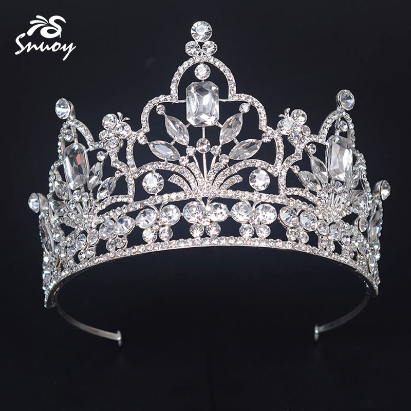 Snuoy High Pageant Crowns and Tiaras For Women Luxury Rhinestone Bridal Crown Hair Jewelry Accessories