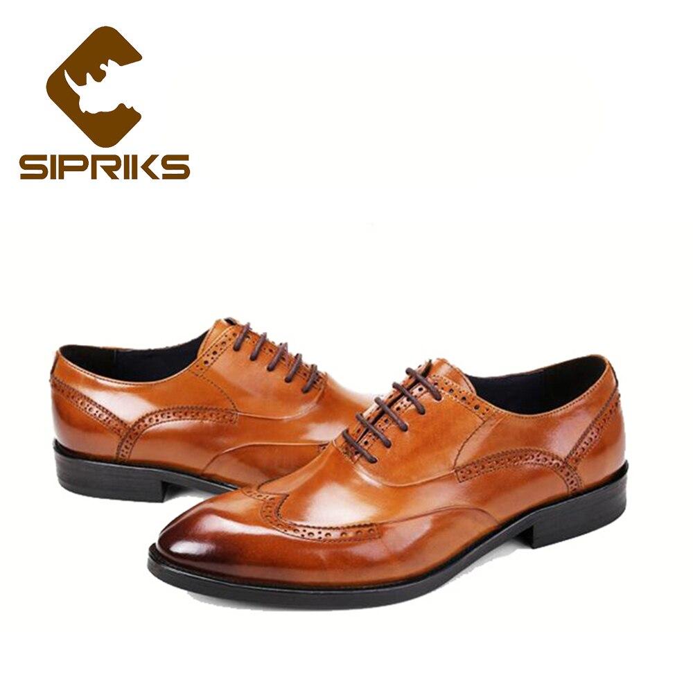SIPRIKS hommes d'affaires bureau chaussures en cuir Tan Wingtip robe chaussures bout pointu Brogue Oxfords élégant noir chaussures de mariage Big 44 - 3