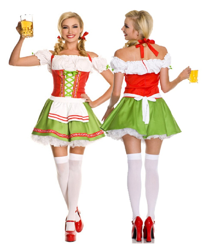 Green Oktoberfest Costume Sexy Bavarian Costume Gothic Lolita Dress Fancy German Beer Girl Costume For Women Halloween Fantasy
