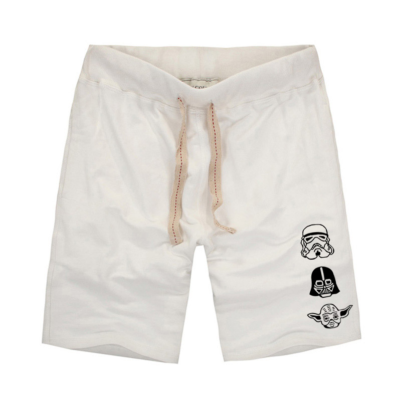 Star Wars 3 Head Logo Printing Men's Shorts Dark Gray Casual Shorts Men Woo Panda And Geometry Design Mens Cotton Shorts Summer
