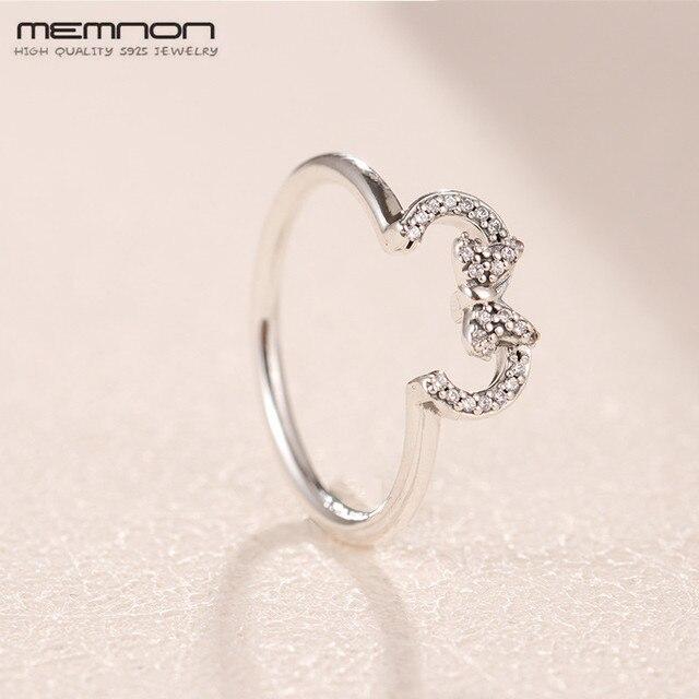 908f6a2644 Memnon Navidad dibujos animados plata 925 joyería ratón silueta anillo 925  anillos de plata de ley
