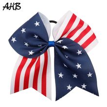 AHB 4th of July 7 Inch Hair Bows for Girls Independence Day Cheer with Rubber Band Festival Party Accessories