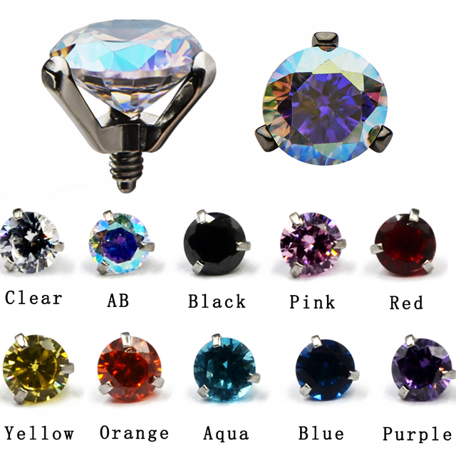 Us 0 75 22 Off 1pcs 16g Surgical Steel Micro Dermal Piercings Dermal Anchor Round Cz Crystal Top Piercings Skin Diver Piercing Body Jewelry In Body