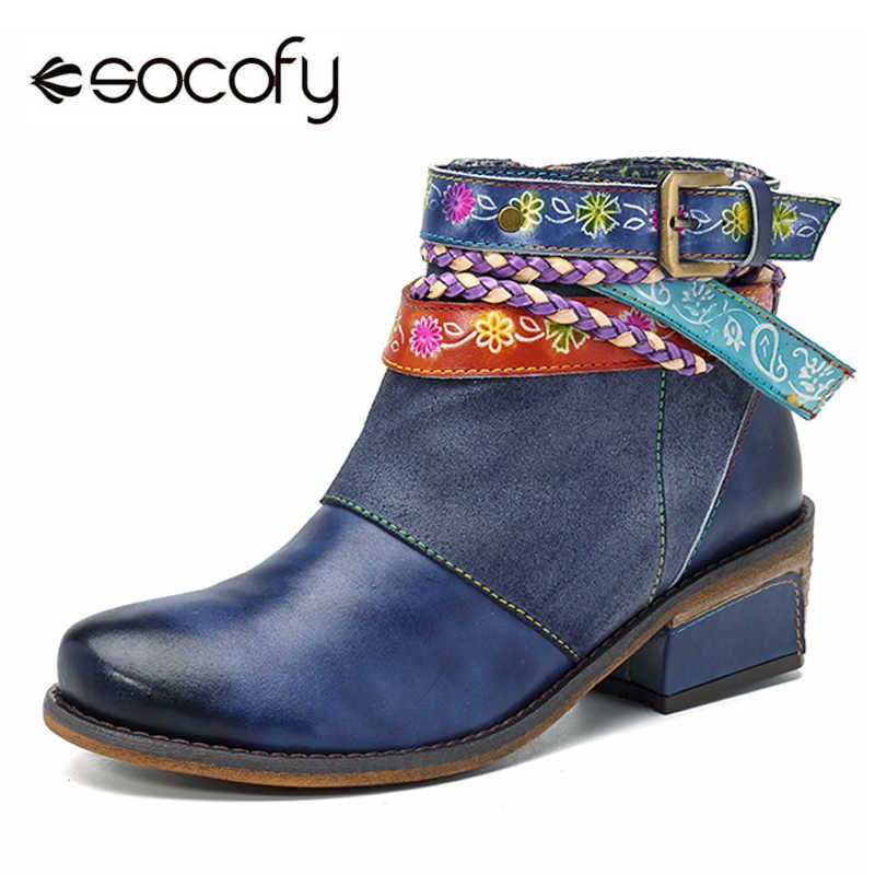Socofy hakiki deri kadın çizmeler Vintage Bohemian ayak bileği çizmeler kadın ayakkabıları fermuar düşük topuk bayanlar ayakkabı kadın sonbahar çizmeler 2019