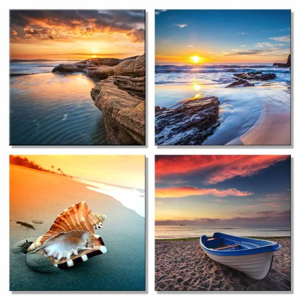 Canvas Painting Wall Art Pictures 4 Panel Modern Modular Pictures Prints on Beach Seascape Painting Sea Boat Sunset No Frame