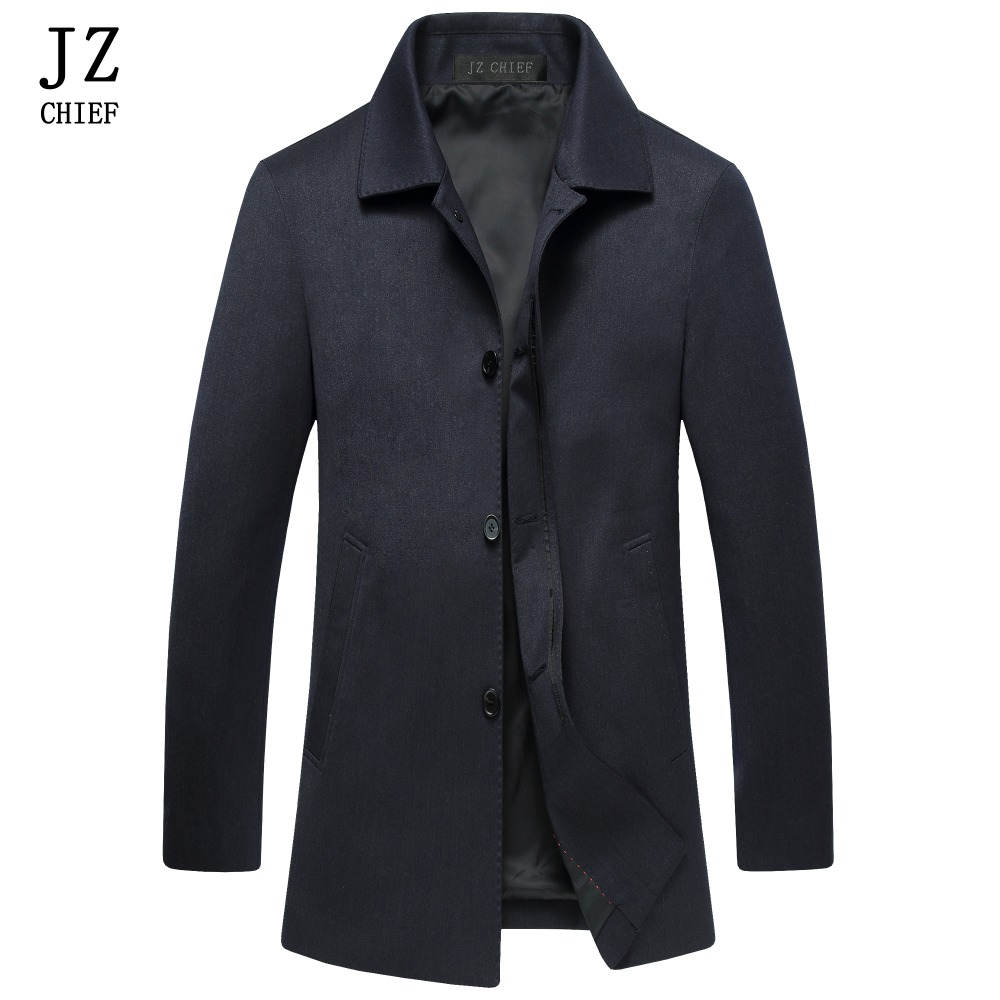 JZ CHIEF Mens Trench Coat Mens Overcoat Slim Fit Business Casual Jacket Autumn Black Trench Jackets Windbreaker Male Trench Coat