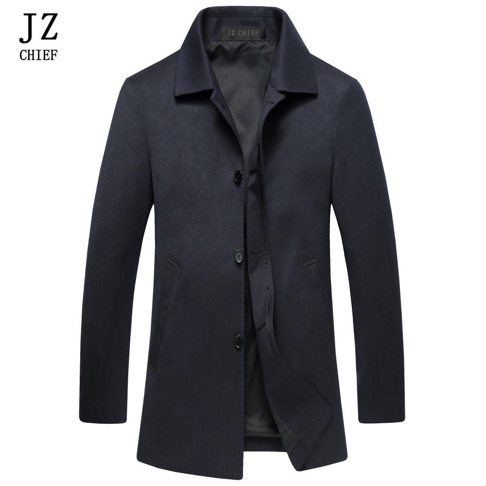 JZ CHIEF Mens Trench Coat Mens Overcoat Slim Fit Business Casual Jacket Autumn Black Tre ...