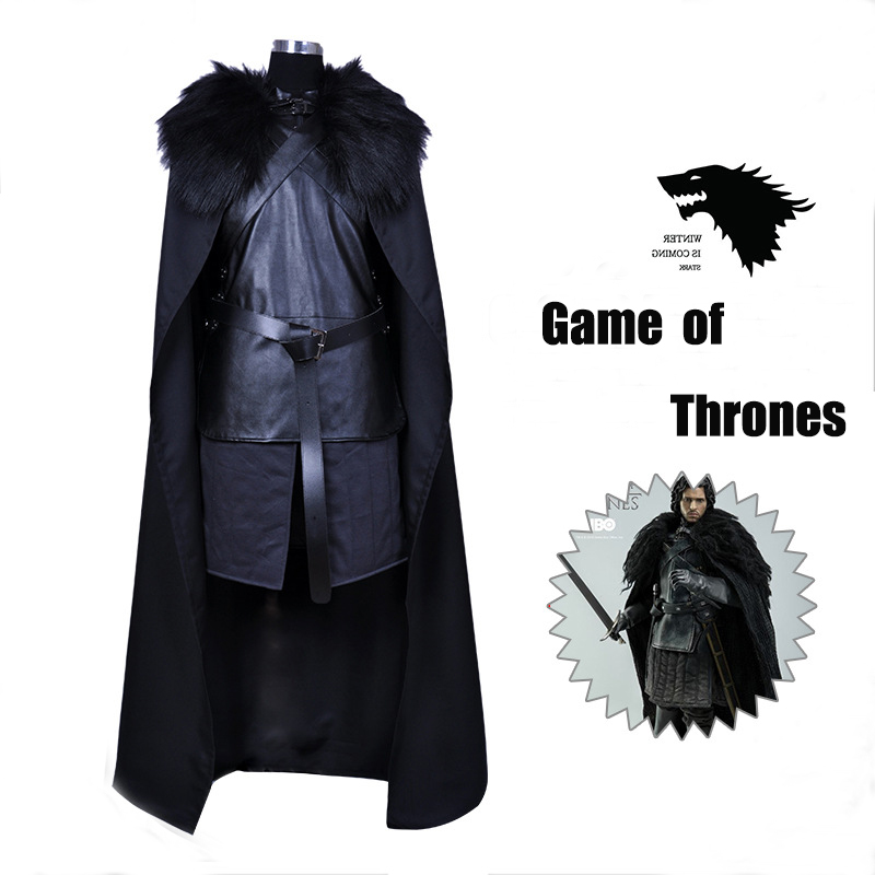 4pcs Jon Snow Cosplay Costume For Men With Cloak Vest Game Movie Jon Snow Cosplay Knight Role Plus Size Play Costume Halloween