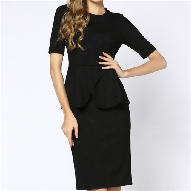 520f6a632965 Women Spring Autumn Dress Black Office Wear Female Dress Ruffles Design  Thicken Plus Size Xl 2Xl