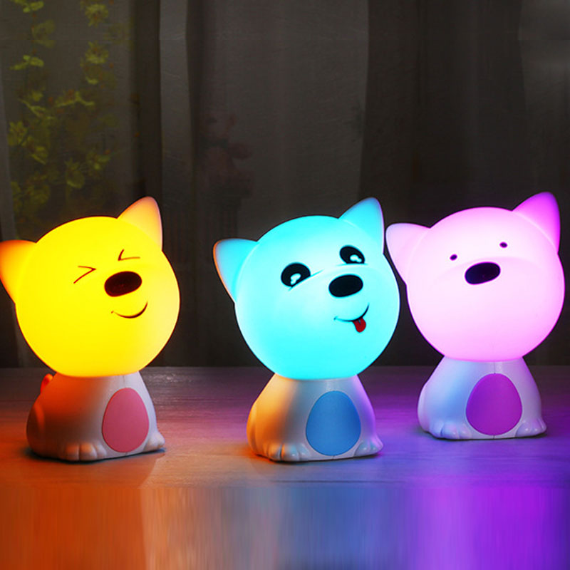 Children Baby Bedroom Night Lamp Cute puppy Silicone LED Night Light Color Changing LED Bedside Light for Children Kid Toy Gift