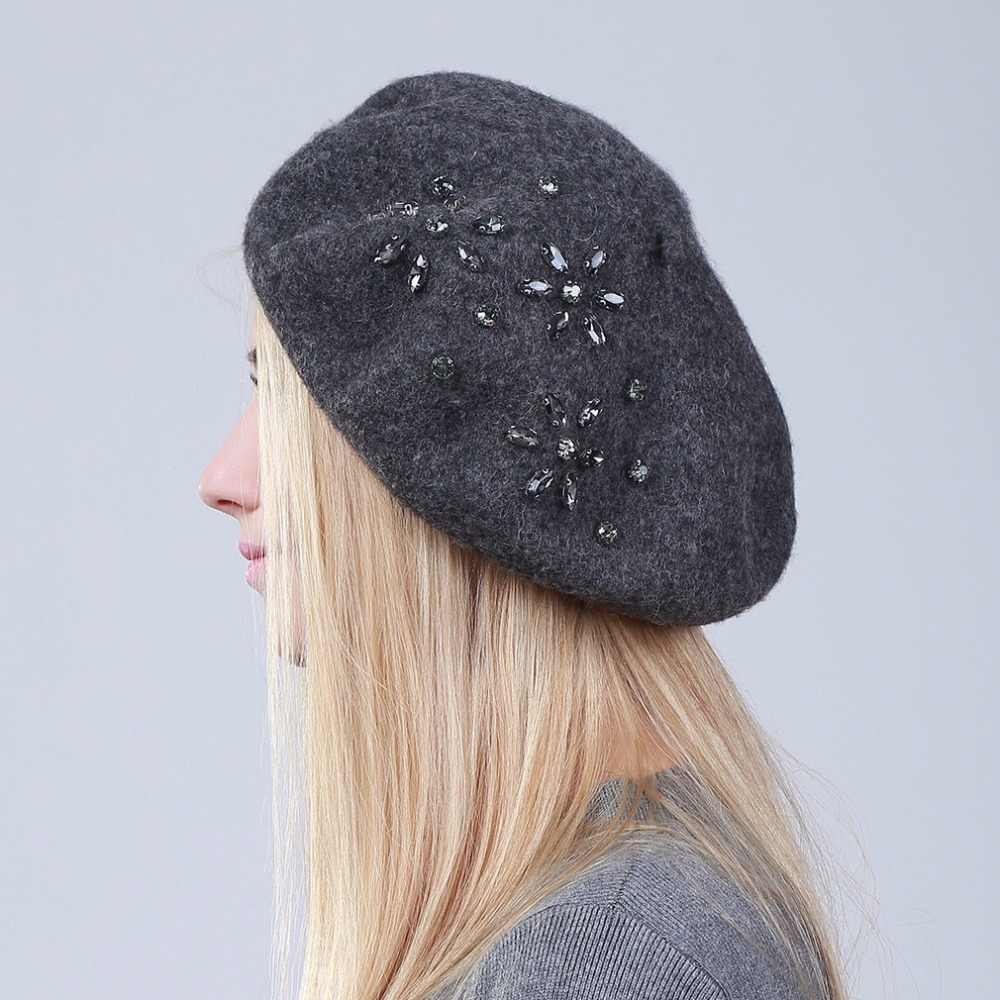 Geebro Women's Beret Hat Fashion Solid Black Wool Knitted Berets With Rhinestones Ladies French Artist Knit Beret Hat female