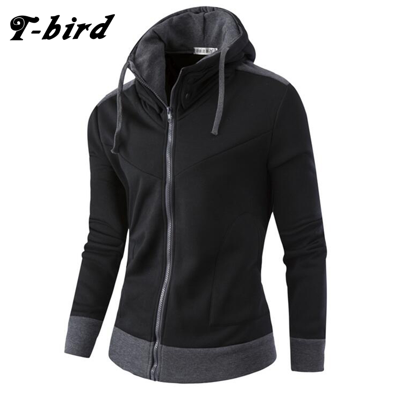 T-Bird 2018 New Fashion Hoodies Brand Men Cardigan High Collar Sweatshirt Male Hoody Hip Hop Autumn Winter Hoodie Mens Pullover