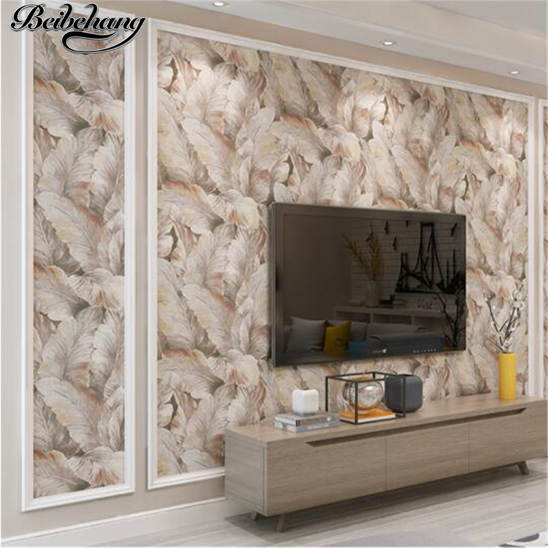 beibehang American Pastoral 3D Stereo Banana Leaf Nonwovens Wallpaper Ventilation Living Room Bedroom TV Background Wall paper non woven bubble butterfly wallpaper design modern pastoral flock 3d circle wall paper for living room background walls 10m roll