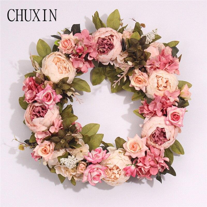 8d33b1d2e1 Coronas de flores artificiales de peonía de seda de varios estilos,  guirnalda de simulación de calidad perfecta para decoración de fiesta de  boda en ...