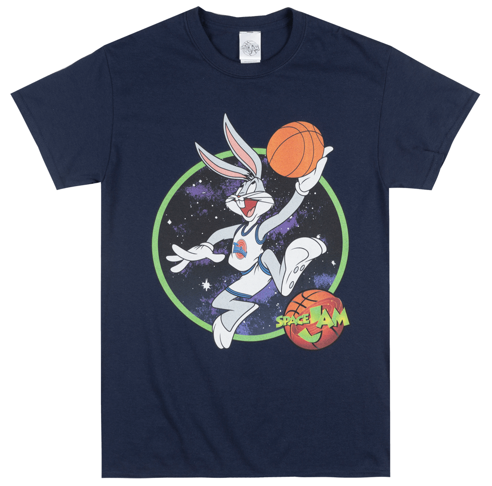 LOONEY TUNES SPACE JAM BUGS BUNNY T-SHIRT NAVY MENS TUNE SQUAD MOVIE TEE   Cartoon t shirt  Unisex New Fashion tshirt Loose Size