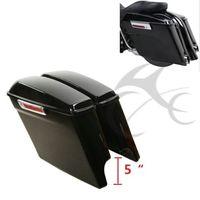 Vivid Black 5 Stretched Hard Saddle Bags W/ Key For Harley Touring Models 14 18