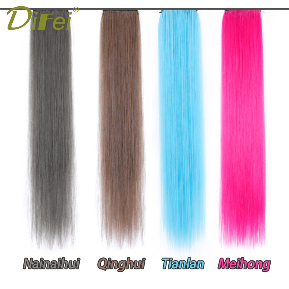 Clip-in One Piece for Ombre Hair Extensions 24 60cm Pure Color Straight Long Synthetic Hair