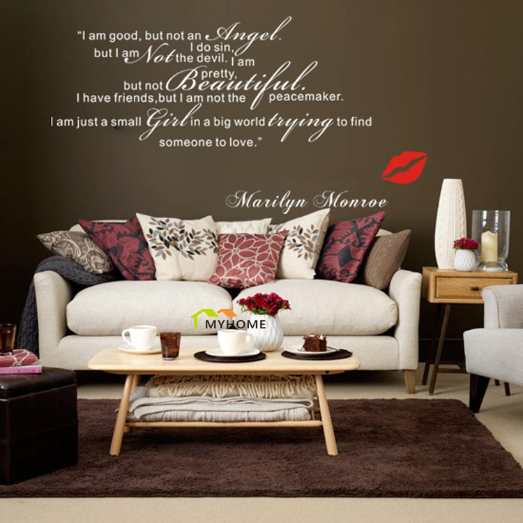 Popular marilyn monroe wall decals buy cheap marilyn for Living room decor quotes