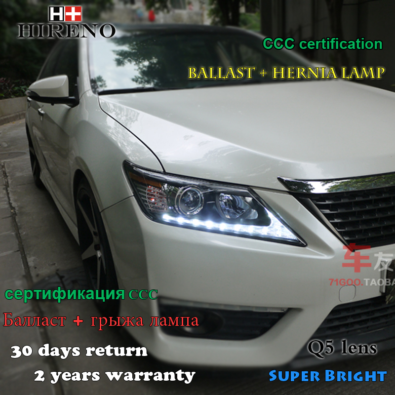 Hireno Headlamp for 2012-2014 Toyota Camry Headlight Assembly LED DRL Angel Lens Double Beam HID Xenon 2pcs hireno headlamp for 2012 2014 ford ecosport headlight assembly led drl angel lens double beam hid xenon 2pcs